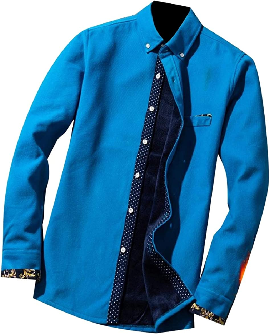 SportsX Men Simple Printing Fleece Corduroy Thickened Patched Western Shirt