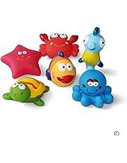 Giocattoli da bagno Galleggianti da bagno per pesci, stelle marine, cavallucci marini (6PCS), giocattoli da bagno con creature marine, giocattoli da bagno morbidi, giocattoli da bagno per bambini