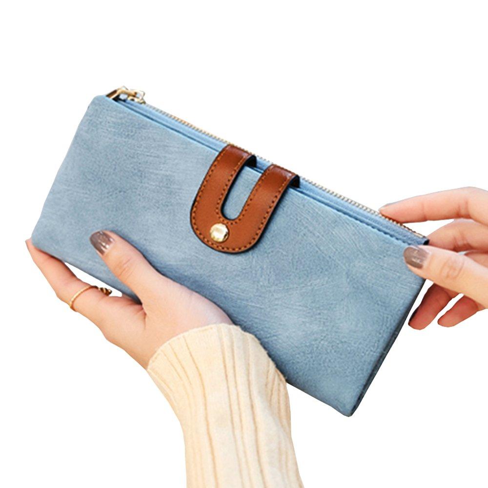 IFUNLE Womens Long Clutch Slim Wallet Large Capacity Thin Bifold Wallet Card Holder Cash Key Passport Checkbook Organizer Zipper Buckle Travel Coin Purse Handbag (Light Blue)