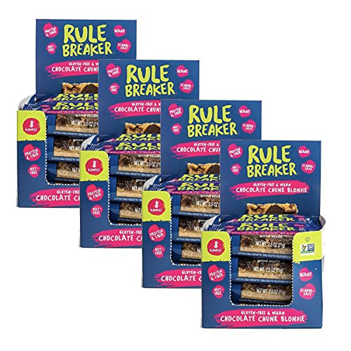 Rule Breaker Snacks, Chocolate Chunk Blondies, Healthy and Unbelievably Delicious, Gluten Free, Nut Free, Free from Top Eight Allergens, Vegan, Kosher (32-pack)