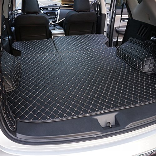 Kust WX34716w Nissan Murano Car Trunk Rear Cargo Liner,(Black)Custom Universal Fit SUV Cargo Mat Fit For 2015 2016 2017 2018 Nissan Murano,1 Piece All Weather Artificial Leather Trunk Mat,Easy Install