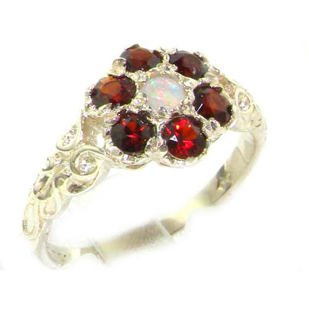 LetsBuyGold 10k White Gold Natural Opal & Garnet Womens Promise Ring - Size 6.5