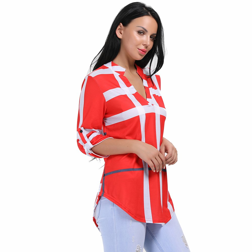 Red Stripes other Womens VNeck Formal, Casual, Office Blouse, Shirt