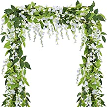 Supla Pack of 5 Artificial Wisteria Hanging Garland in White Silk Wisteria Hanging Vine - 6.6' Long - 6 String Flowers for Home Garden Outdoor Yard Ceremony Wedding Arch Floral