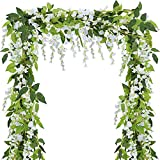 Supla Pack of 3 Artificial Wisteria Hanging Garland Silk Wisteria Vine Ratta Green Leaf Hanging Vine in White - 6.6' Long - 6 String Flowers for Home Garden Outdoor Yard Ceremony Wedding Arch Floral