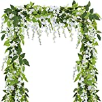 SUPLA-Pack-of-5-Artificial-Wisteria-Hanging-Garland-in-White-Silk-Wisteria-Hanging-Vine-66-Long-6-String-Flowers-for-Home-Garden-Outdoor-Yard-Ceremony-Wedding-Arch-Floral