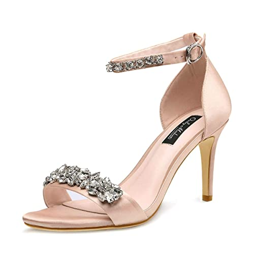 46fb561fec0f1 Onlymaker Women's Rhinestone Embellished High Heel Sandals with Ankle Strap  Strappy Bridal Pumps
