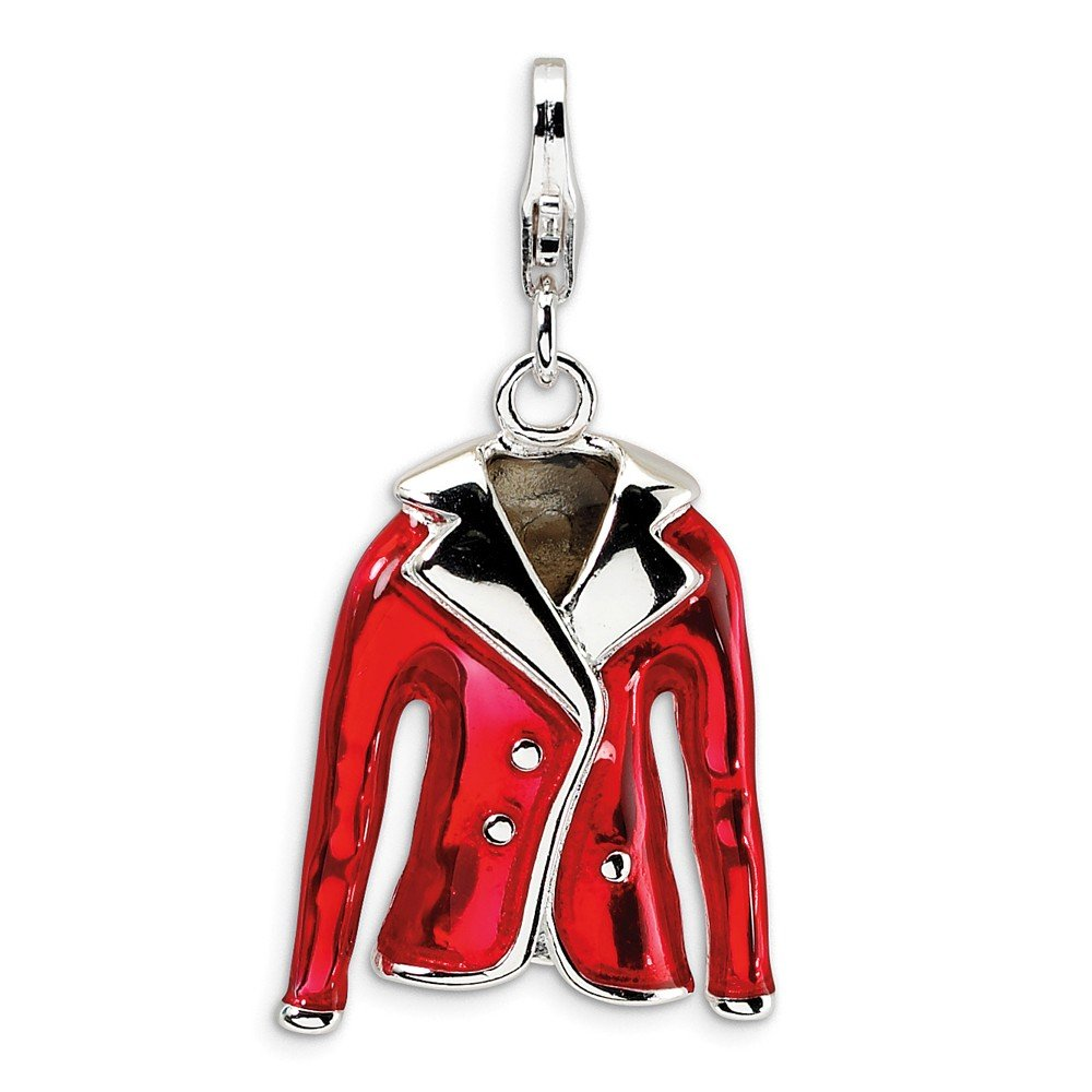 3-D Red Jacket Charm In 925 Sterling Silver 31x16mm