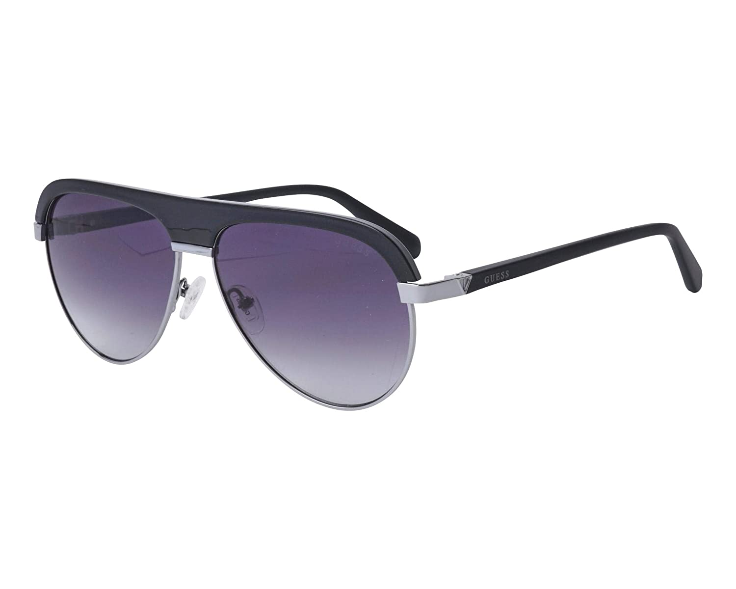 61984eddc1 Guess sunglasses (GU-6937 05B) Shiny Black - Silver - Grey Gradient lenses  at Amazon Men s Clothing store