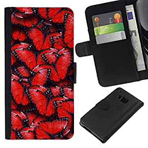Protector de cuero de la PU de la cubierta del estilo de la carpeta del tirón BY RAYDREAMMM - HTC One M7 - Modelo de mariposa rojo