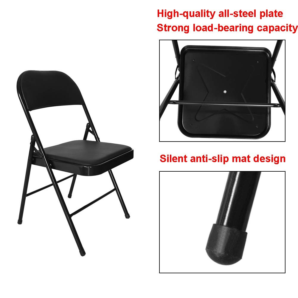 Multifunctional Chair with Backrest,Lefthigh Super Load-Bearing Backrest Folding Chair Steel Plate Base Leisure Office Stool by Lefthigh (Image #6)