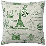 JinStyles Cotton Canvas Square Throw Pillow Cover - 2-Side Paris Eiffel Tower Stamps, Green, for 18 x 18 Inch Insert
