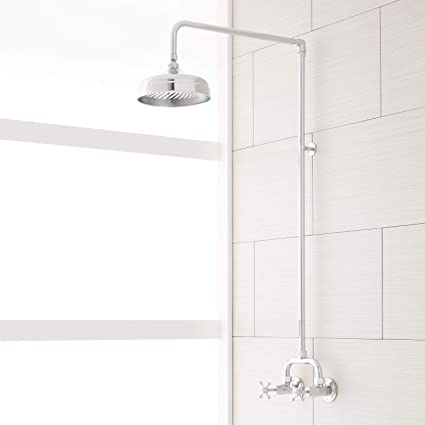 exposed pipe shower . Signature Hardware 370006 Baudette Exposed Wall Mounted Shower With  Rainfall Head Tub And Faucets Amazon Com