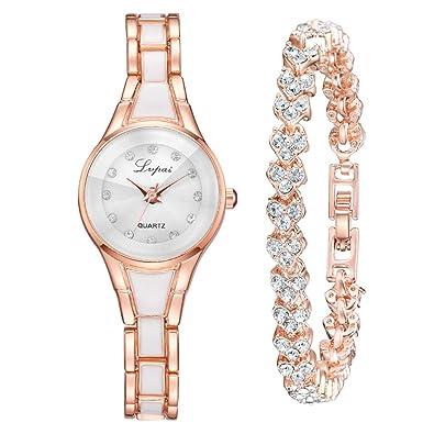 Amazon.com: XBKPLO Relojes de cuarzo + pulsera de taladro en ...