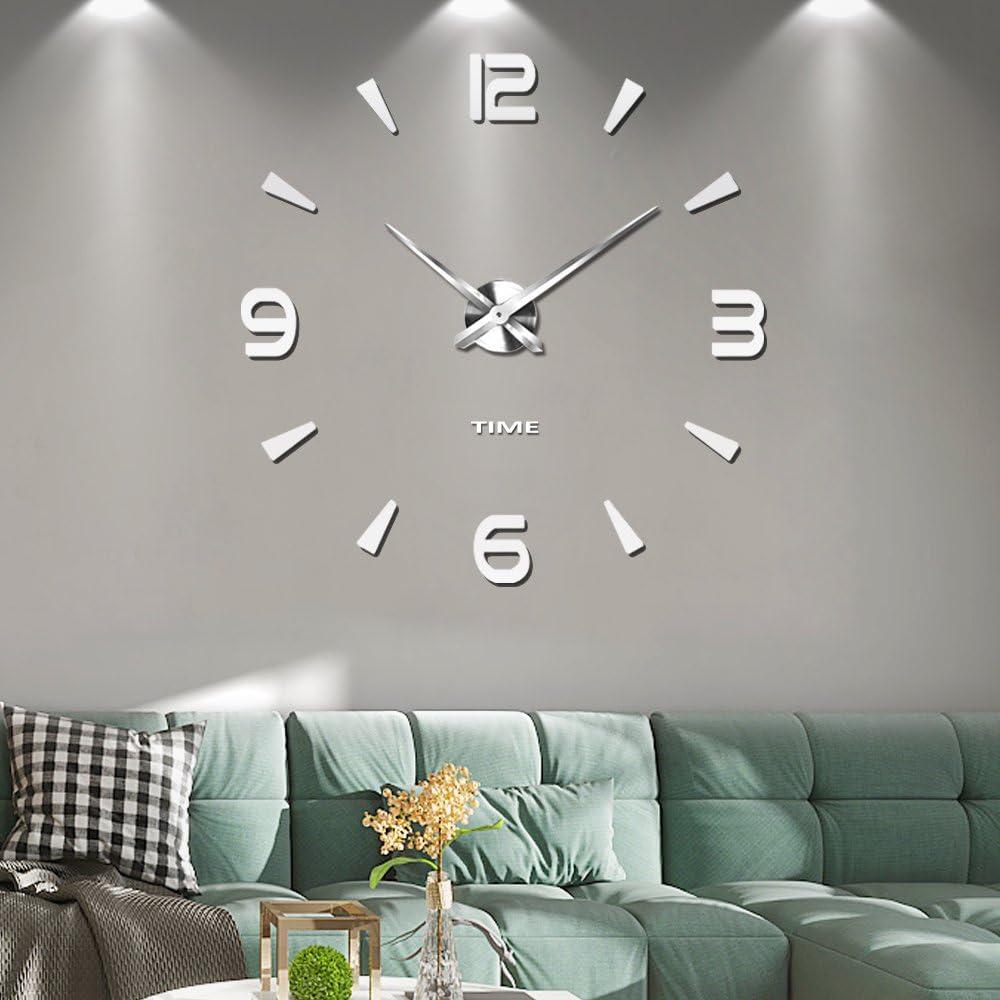 Silenciar DIY Frameless Gran Reloj de Pared Números Romanos 3D Relojes de Pared Espejo Pegatina para Ministerio del Interior Decoraciones - 2 Años de Garantía (Plata-73)