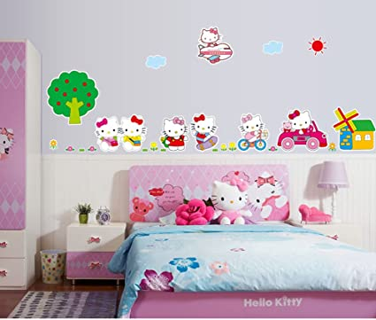 Amazon Com Fange Diy Removable Hello Kitty Cat Cartoon Fashion Art