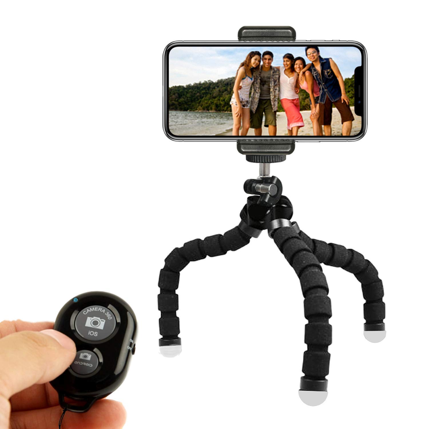 KobraTech Cell Phone Tripod Stand - Flexible Tripod Compatible with iPhone, Android, DSLR Cameras & GoPro - TriFlex Pro KT-TFP