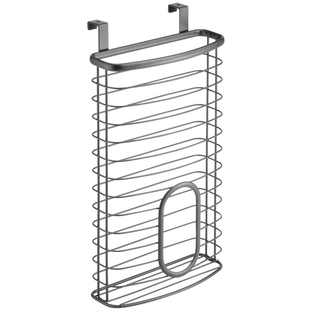 mDesign Metal Over Cabinet Kitchen Storage Organizer Holder or Basket Hang Over Cabinet Doors in Kitchen//Pantry Chrome Holds up to 50 Plastic Shopping Bags