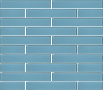 10 Square Feet Infinity Blue 2x12 Glass Subway Tiles Amazoncom