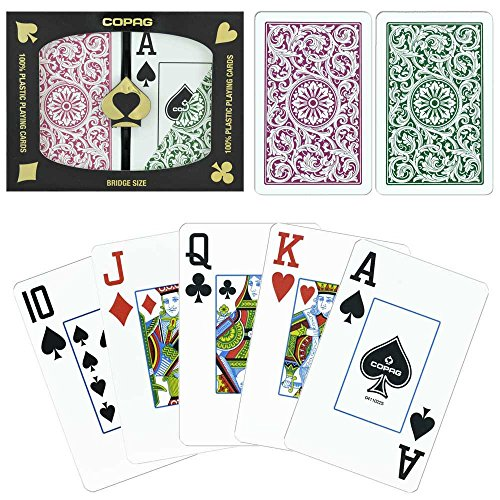 Copag Bridge Size Jumbo Index 1546 Playing Cards (Green Burgundy Setup) Copag Bridge Cards