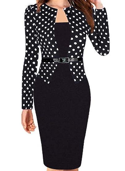 6ee8b37590b05 Babyonline Women Colorblock Wear to Work Business Party Bodycon One-Piece  Dress