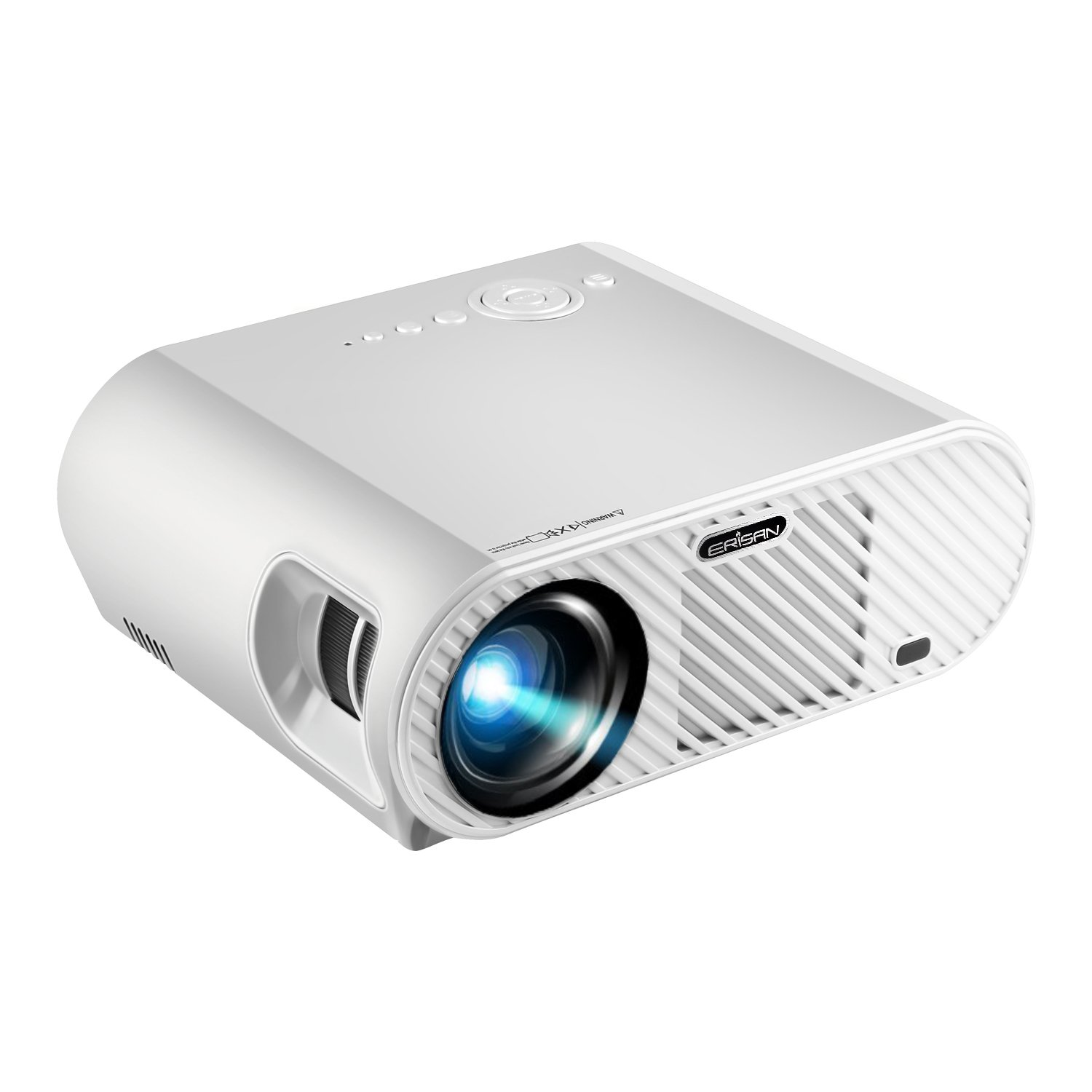 ERISAN 720P Video Projector (Warranty Included), 3500 Luminous Efficiency, Native Resolution 1280x800, with HDMI Support 1080P VGA USB AV TV Laptop for Entertainment (White) ¡