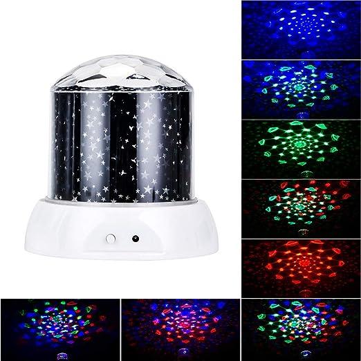 Galapara Lámpara Proyector Estrellas, 360° Rotación Lampara ...