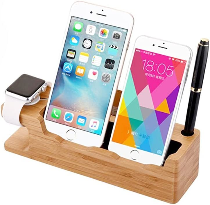 for iWatch Stand, iWatch Bamboo Charge Station Wood Charging Dock Stock Cradle Holder for iWatch Both 38mm and 42mm & iPhone 6 6 Plus 5S 5 SE for iPhone 7/8 iPhone X