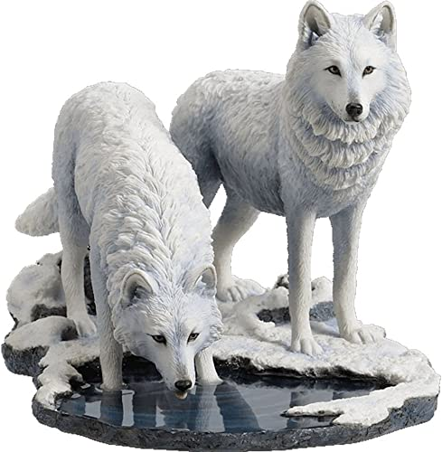 Veronese Design Winter Warriors – Two Wolves Sculpture by Lisa Parker