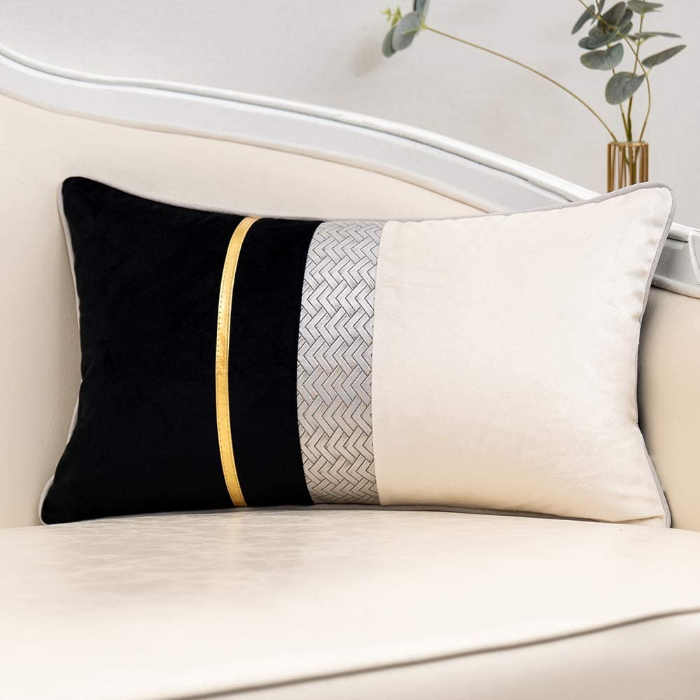 """Yangest Black Patchwork Velvet Lumbar Pillow Cover with Gold Striped Leather Cushion Case Modern Luxury Pillowcase for Sofa Couch Bedroom Living Room Home Decor,12""""x20"""""""