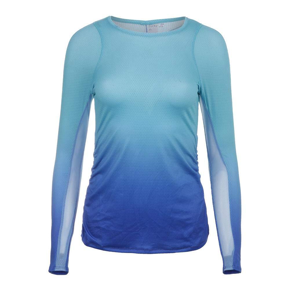 Lucky In Love-Women`s Ombre Long Sleeve Tennis Top Periwinkle Blue-(703980490181