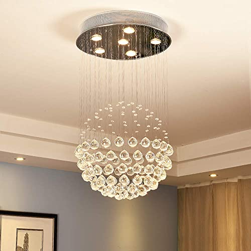 Flush Mount Crystal Chandelier Lighting Rain Drop Ceiling Light Fixture Pendant Lamp