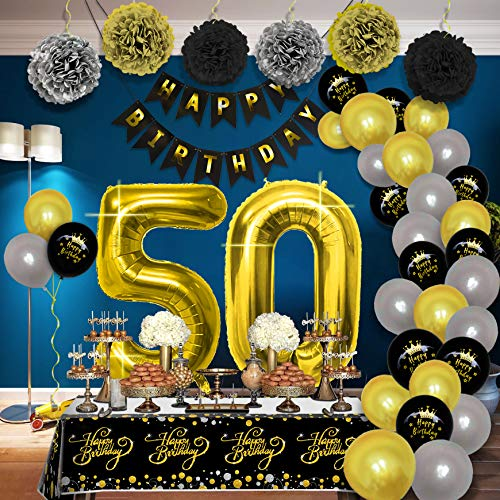 Birthday Party Decorations Kit - Party Supplies Packs for Women Men Kids, Happy Birthday Banner Pompoms Paper Balloon Disposable Tablecloth for Dad Mum 50th 60th 70th 80th Birthday Decorations (1-50)