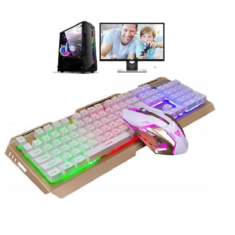 Xbox One Keyboard and Mouse Combo for Gaming USB Wired,LED Keyboard and Mouse RGB Rainbow Waterproof Dust Proof Color Change Mouse 3200 DPI for PC Office Computer PS4 Prime Games White Raised Keys