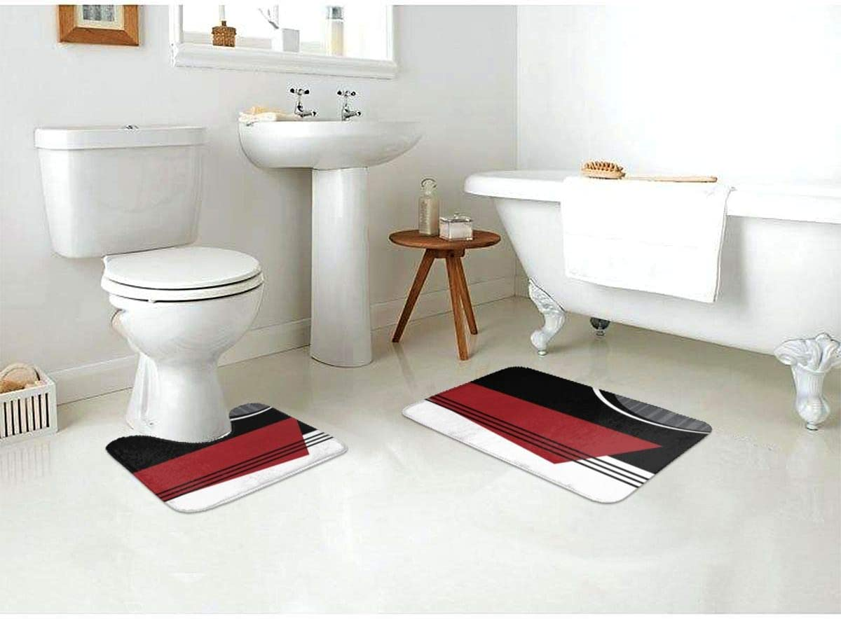 Bathroom Antiskid pad Red White and Black Geometric 2-Piece Bath Rug Set Flat Multifunctional Washable Bath mats Made of Soft with a Contoured U-Shaped Toilet Rug for Bathroom livingroom