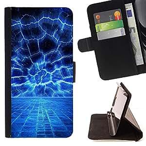 BullDog Case - FOR/HTC Desire 820 / - / Blue Electrical Storm /- Monedero de cuero de la PU Llevar cubierta de la caja con el ID Credit Card Slots Flip funda de cuer