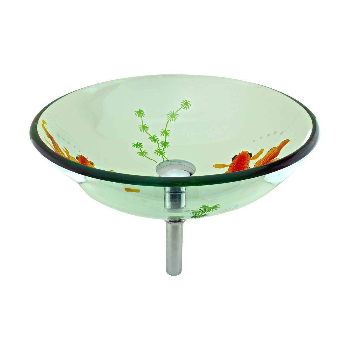 Tempered Glass Vessel Sink With Drain, Clear Single Layer Painted Koi Fish Bowl