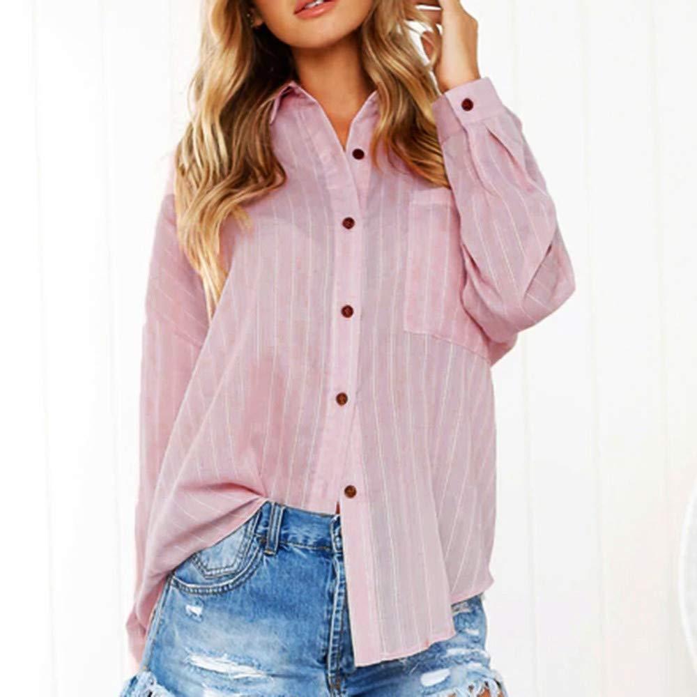 ... con Botón Suelto De Mujer Camisa Manga Larga Vestido De Algodón Damas Casual Tops Camiseta Blusa Suave Ropa(Rosa, XXL): Amazon.es: Ropa y accesorios