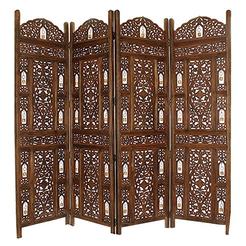 Benzara Handcrafted Wooden 4 Panel Room Divider Screen with Tiny Bells - Reversible, Antique Brown (Screen Dividers Wooden)