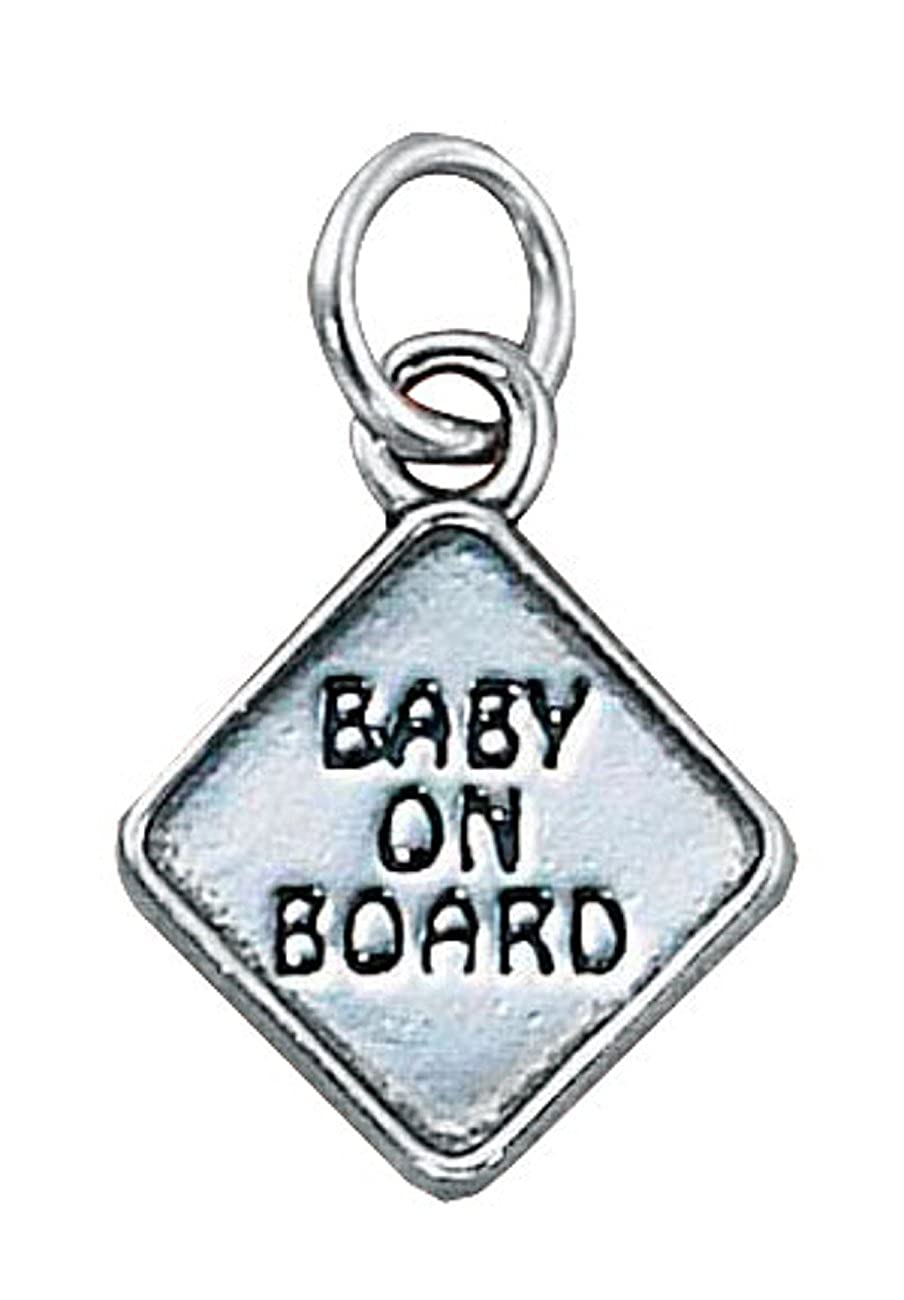 Sterling Silver 7 4.5mm Charm Bracelet With Attached 3D BABY ON BOARD Sign Charm