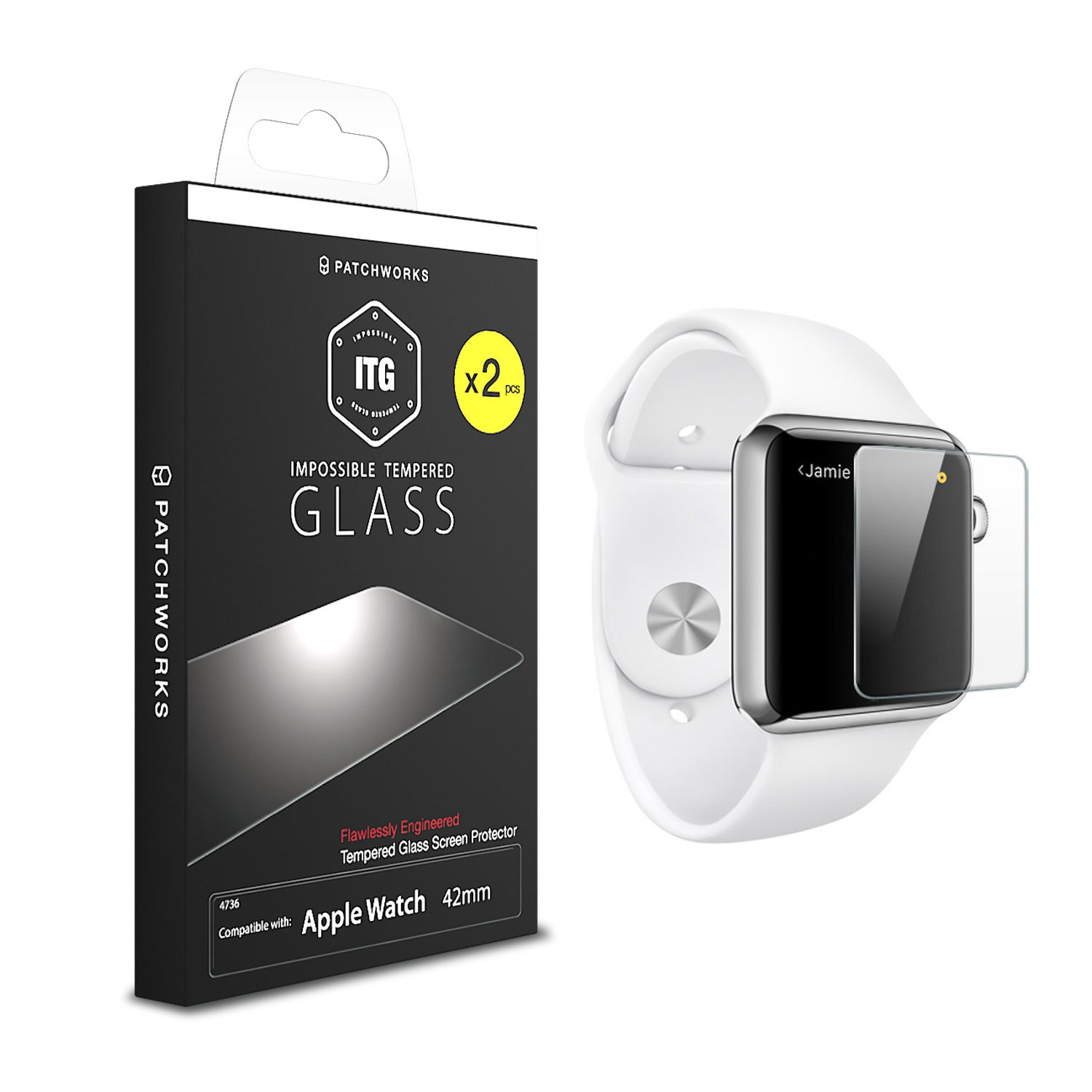 [2-Pack] Apple Watch 42mm (Series 1/Series 2/Series 3) Glass Screen Protector, Patchworks ITG PLUS 9H Oil Scratch Resistant Coated Tempered Glass Screen Protector [Only Covers the Flat Area]