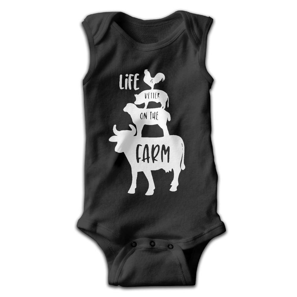 Life is Better On The Farm Baby Newborn Infant Creeper Sleeveless Romper Bodysuit Onesies Jumpsuit Black
