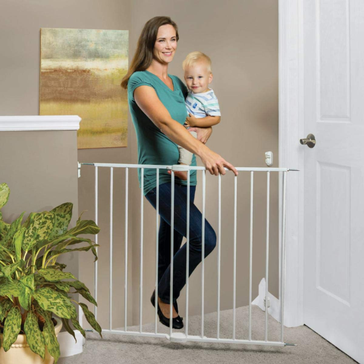 North States 40.55'' Wide Essential Stairway & Walkway Baby Gate: Ideal for Standard stairways. Sturdy Metal with Swing Control Hinge. Hardware Mount. Fits Openings 24.5''-40.55'' Wide (30'' Tall, White)