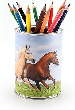 Stiftebecher Pferde rosa inkl Kinder Stiftek/öcher Stiftehalter Schreibtisch Organizer M/ädchen 12 Dreikant Buntstiften