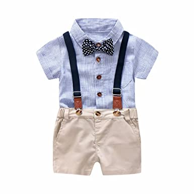 a460242a9 Zerototens Boys Clothing Set,Toddler Boy Clothes Set Gentleman Bowtie Shirt+Overall  Shorts Sets Party Wedding Formal Baby Boy Suit for 0-3 Years Old ...