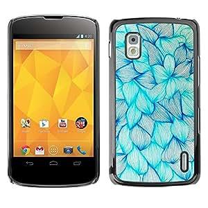 Floral de la tinta azul de las flores Art Dibujo Boceto - Metal de aluminio y de plástico duro Caja del teléfono - Negro - LG Nexus 4 E960