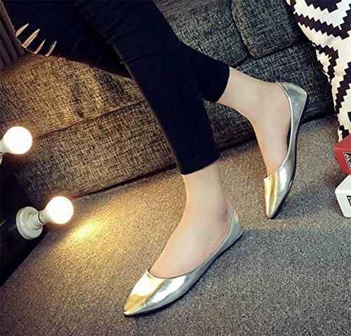 Chfso Mujeres Low Cut Flats Zapatos De Punta Estrecha Bombas Plata