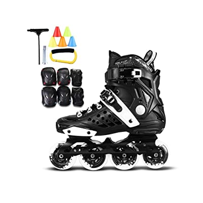 Sljj Outdoor Men's Adult Breathable Fitness Black Inline Skates Combo,High Performance Speed Roller Skates for Beginner and Teen (Color : B, Size : 42 EU/9 US/8 UK/26cm JP): Home & Kitchen