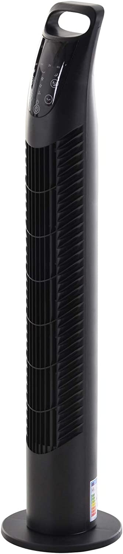 HOMCOM Ventilador Torre con Mando a Distancia 3 Niveles de Velocidad de Expulsión de Aire Temporizador hasta 7.5h Potencia 40W Oscilante en 70° Negro Ф18x78.5cm