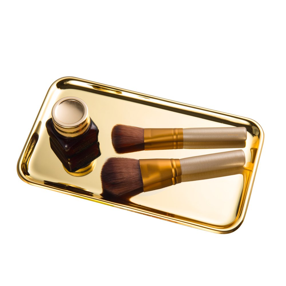 Feyarl Cosmetic Vanity Jewelry Tray Stainless Steel Trinket Dish Storage Organizer Tray Jewelry Dish Makeup Serving Perfume Tray(Gold) by Feyarl